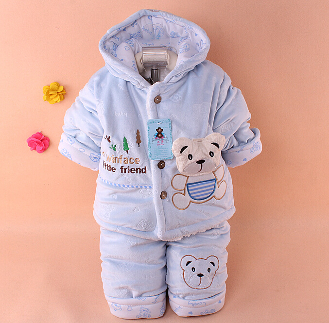 2016 new baby winter velvet set suit for boys clothing kids bear thick coat pants sets child clothes s126(China (Mainland))
