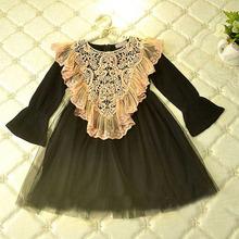 Buy Hu sunshine wholesale Wholesale 2017 autumn kids Girls Dress Cotton lace Princess Party Dresses Elegant Long sleeve Dress for $64.00 in AliExpress store