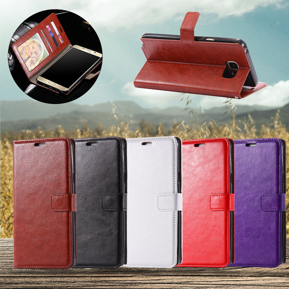 50pcs/lot free DHL Retro Crazy Horse Leather Flip Card Slot Cover For Samsung Galaxy Note 5 Luxury Protective Case Photo Frame