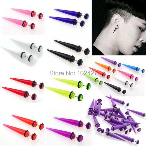 2Pcs 6MM UV Acrylic Fake Ear Plugs Stretcher Earring Taper Spike Cheater Expander Earing Stud Piercing(China (Mainland))