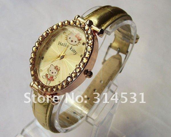 Free shipping  6 colors fashion hello kitty women's ladies luxury crystal oval dial wrist watches 10pcs/lot