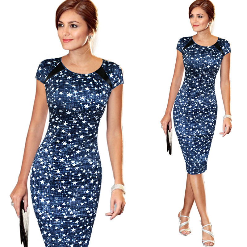 Women Stars Print Office Dress Short Sleeve O Neck Back Zipper Knee Length Work To Wear Midi Pencil Dresses Plus Size Vestidos(China (Mainland))