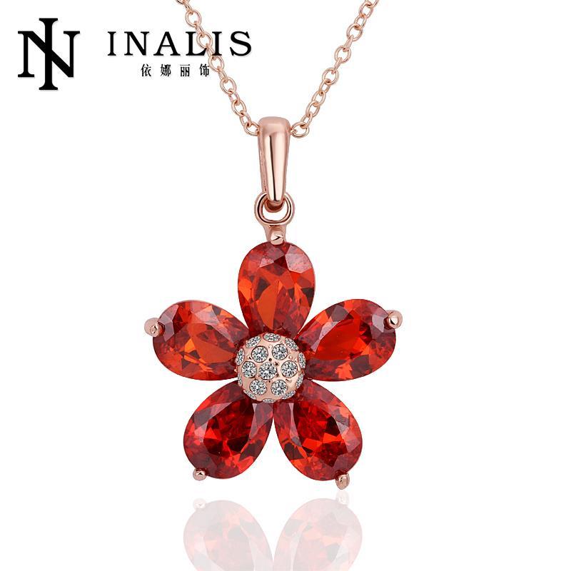 426 2015 Trendy Women Necklace Wholesale 18K Gold Plated Austrian Crystal Ruby Pendant Necklace Jewlery Vintage