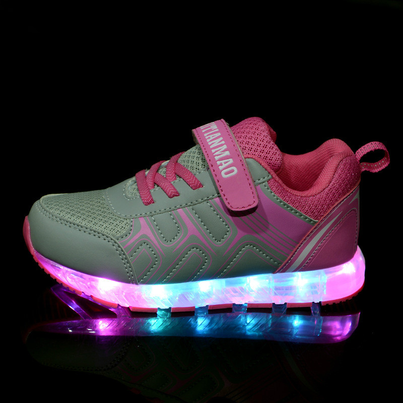 USB Charging Children Shoes With Light 2016 New Colorful Luminous Shoe Flash Velcro Fashion Sneaker LED Light Chaussure Hot Sale<br><br>Aliexpress