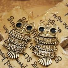 Sunshine vintage antique bronze big eyes owl earrings(China (Mainland))