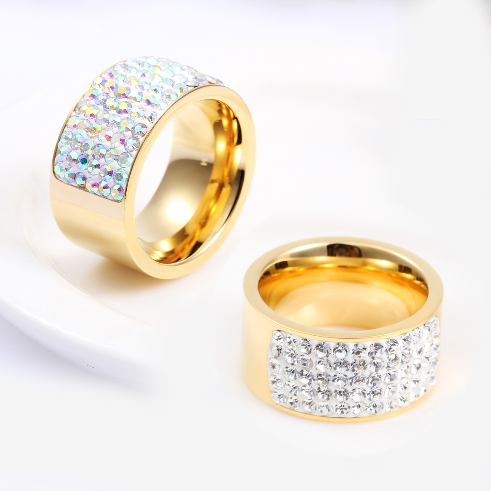 Unisex Italian Gold Ring12MM Stainless Steel Luxury White Crystal Ring Arabic Gold Jewelry Anillos Real Gold Filled Finger Rings(China (Mainland))