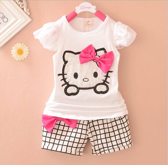 2015 new summer girls clothing set kids girls hello kitty clothes Three colors(China (Mainland))