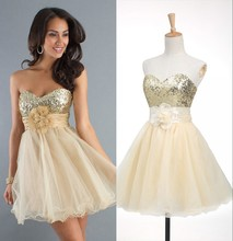New Arrival Short Homecoming dress Hot Sale Sequined Organza Cocktail Prom Dress Fast Shipping Stock short in size Discount Zone(China (Mainland))