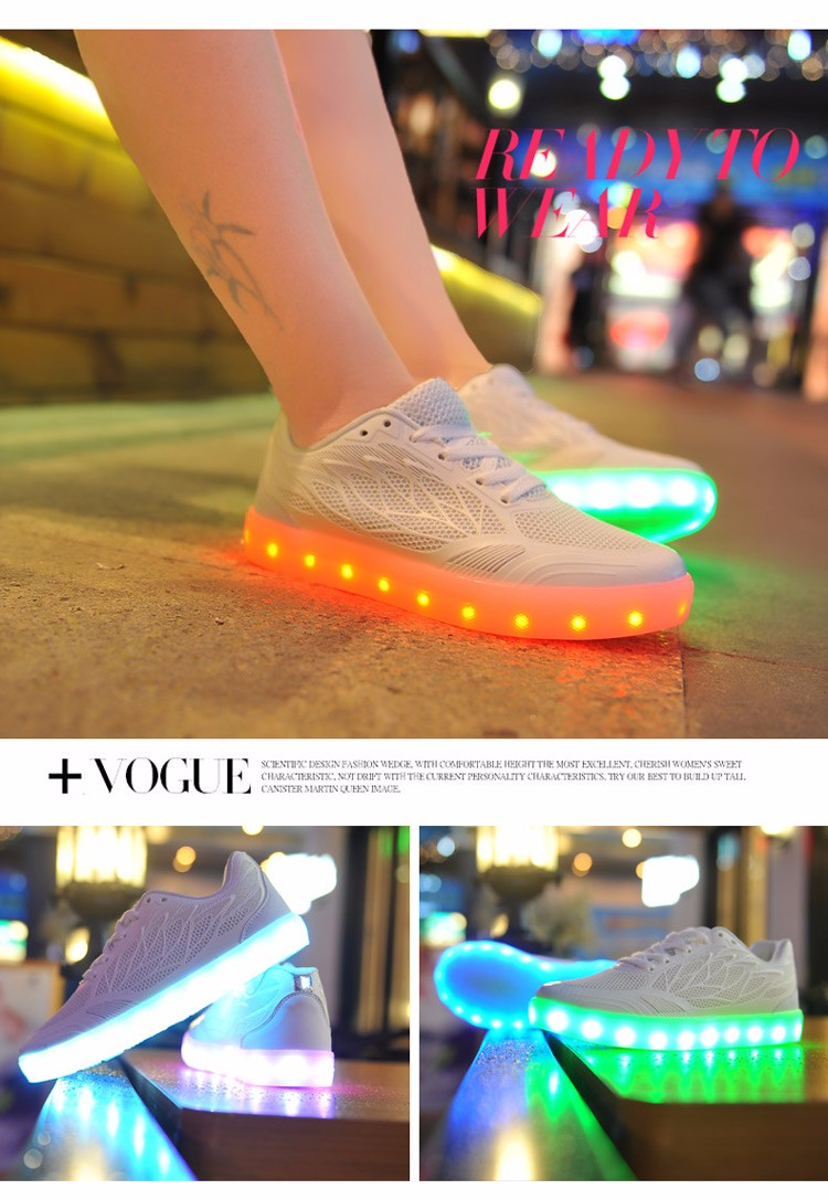 2016 women light up led luminous shoes recharge for adults neon basket color glowing casual fashion with new simulation sole