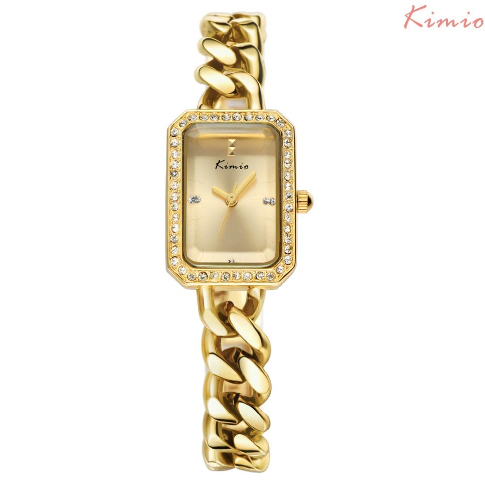 Kimio Brand Inlaid Rhinestone Square Bracelet Watches Fashion Metal Geometric Twisted Watchband Quartz Watch Womens Watches <br><br>Aliexpress