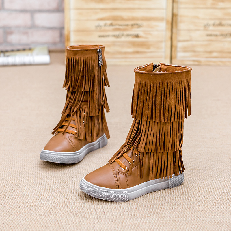 Minnetonka Tall Fringe Boots for Girls - Herpes Research Center