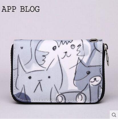 2015fashion black white cat design women short handbags zero wallet coin purse zip clutch bolso cartera mujer - julic shop store