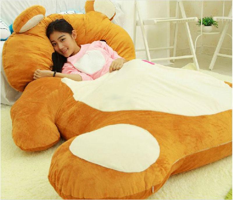 200cm X 140cm Cartoon Rilakkuma Beanbag Soft Plush Giant Bear Sleeping Bag Bed Mat Tatami Free Shipping(China (Mainland))