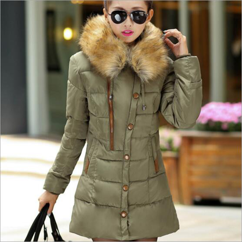 2016 Womens Winter Jackets And Coats Women Winter Jacket Coat Long Hooded Fur Collar Down Jacket Warm Cotton Wadded Parka 1604(China (Mainland))