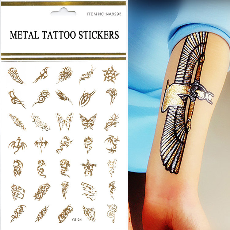 Hot wholesale 1pcs lot gold silver 3d butterfly tattoos for Wholesale temporary tattoos