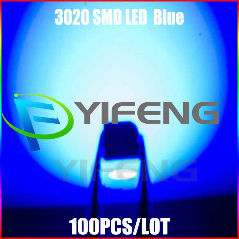 2015 Special Offer Promotion Surface Mount Rgb Led Hot!! 100pcs/lot Blue 3020 Smd/smt Led Lamp Ultra Bright Diode free Shipping(China (Mainland))