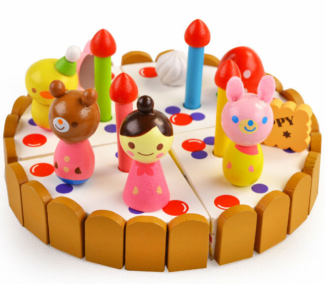 Strawberry Cutting Cake Wooden House See Chocolate Mini Birthday Pizza Party Christmas Gift Toys Simulation(China (Mainland))