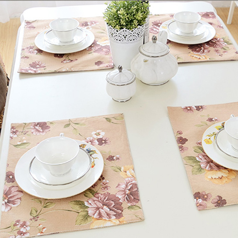 1PC 30*40cm Flower Dinner Placemats Linen Place Table Colth Mats Tableware Dinnerware Kitchen Dining Bar Accessories Tools(China (Mainland))