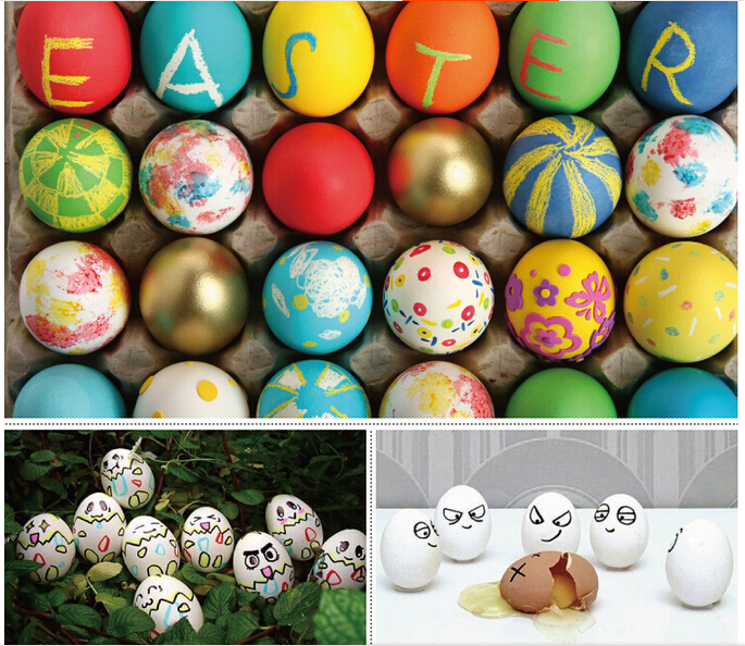Wooden Simulation Chicken Egg Duck Egg Easter Egg DIY Graffiti Painted Tricky Toy(Random Color)(China (Mainland))