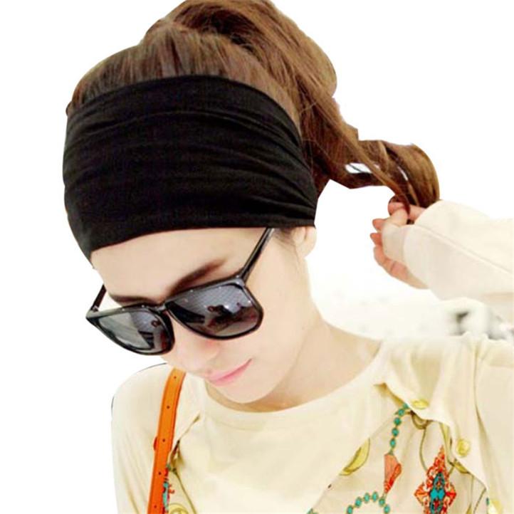 Newly Design Hair Accessory Full Vintage Wide Ribbon Headband Hair Band Bandanas Scarf New Fashion Party Black May12(China (Mainland))