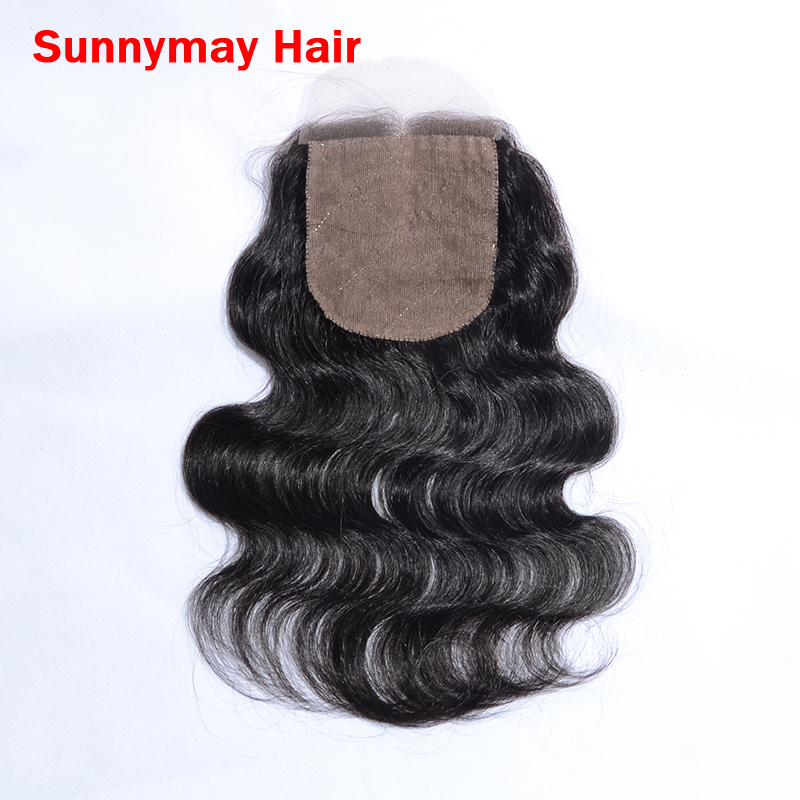 Sunnymay 5A grade 4*4 bleached knots unprocessed silk base lace closure brazilian body wave virgin hair with middle part instock<br><br>Aliexpress