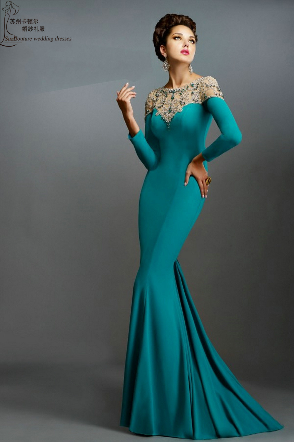 Images of Long Sleeve Long Dresses Formal - The Fashions Of Paradise
