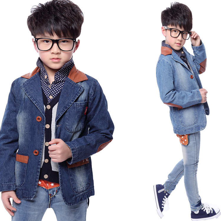 PU Stitching Denim Jacket Suit Kids Clothing Boy 2015 Children Kids Blazers Jackets For Boys ...
