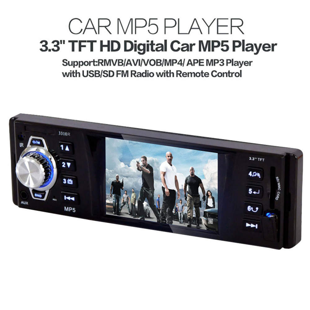3310R DC12V Black Car 3.3 Inch TFT HD Digital MP5 Player Support USB SD FM Radio with Remote Control support for MP3 / WMA etc(China (Mainland))