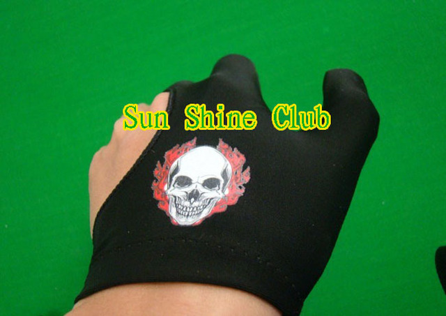 Free shipping 5pcs/lot high stretch 3 finger Skull-design billiard gloves/Pool Table Snooker billiard table Gloves