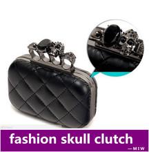 Monedero envío gratis vendimia cráneo negro anillo del nudillo del bolso de embrague del cráneo bolso de noche con la cadena del hombro bolsas femininas(China (Mainland))