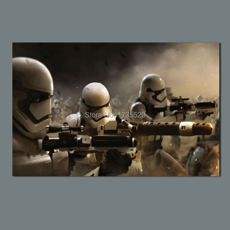Large size wall art star wars 7 stormtrooper movie poster for Star wars home decorations