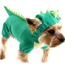 Puppy Dog Pet Halloween Dinosaur Costume Waterproof Coat Green Coat Outfits Jumper Apparel Clothes Free Shipping(China (Mainland))