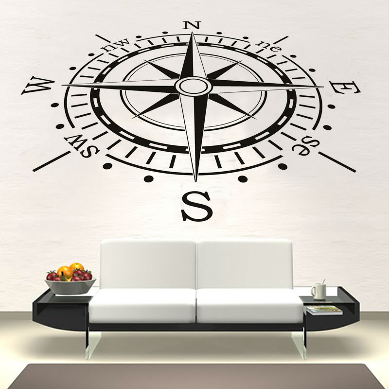 Creative Home Decor Vinyl Removable Compass Wall Sticker Waterproof Living Room Wallpaper(China (Mainland))
