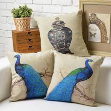 Vintage Modern European The bird peacock Pillow Cushion