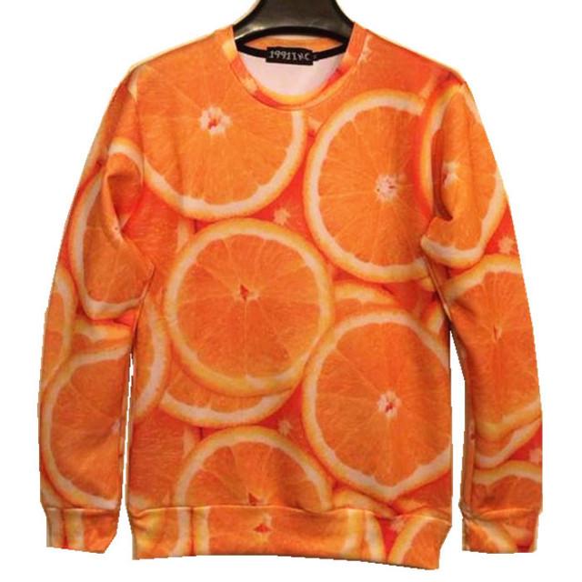 Кутюр 2016 новинка 3D забавный печать оранжевой лимона фрукты толстовка для мужчин ...