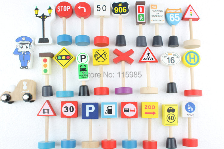20pcs/lot wooden toy baby children traffic sign Baby Early Learning education wood blocks train models kids pretend play toys(China (Mainland))