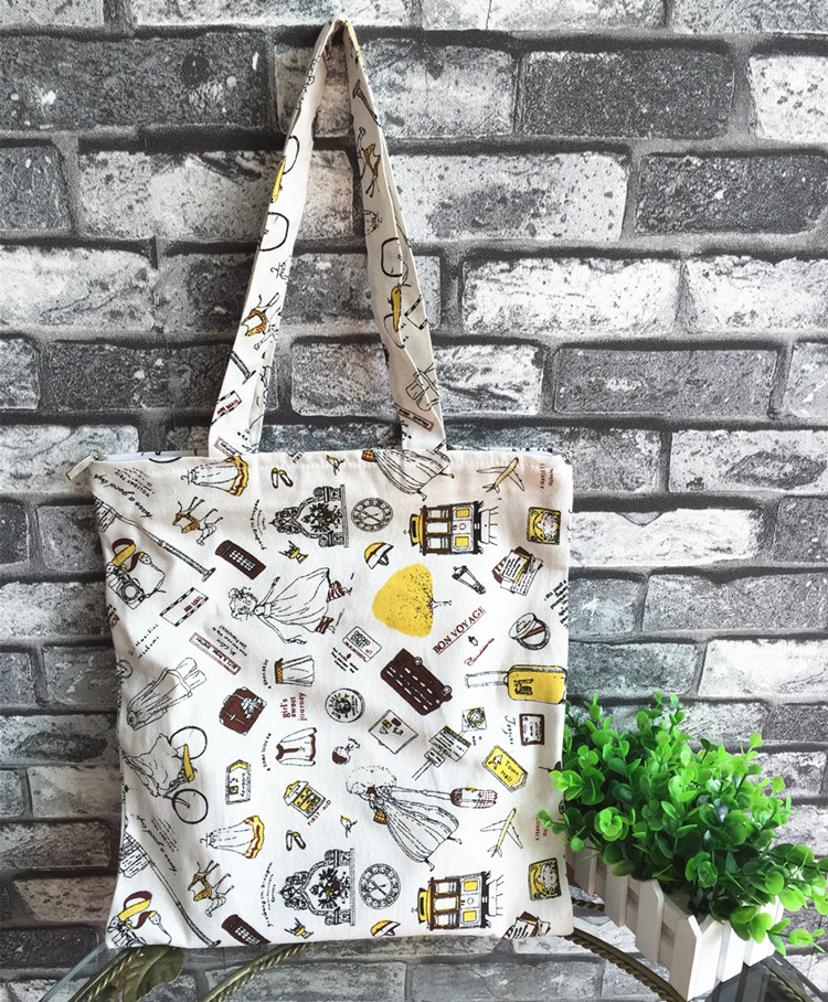 Fresh cotton hemp bags handbag casual shoulder bag portable women's bag little girl pattern Shopping Bags(China (Mainland))