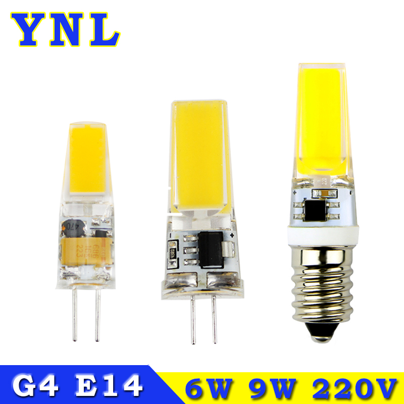YNL G4 LED Lamp 220V COB LED E14 Bulb 6W 9W LED COB Light Dimmable 360 Beam Angle Chandelier Lights Replace Halogen G4 E14 Lamps(China (Mainland))