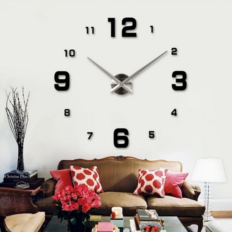 new 2015 sale home decor circular wall clock modern big 3d diy acrylic mirror quartz sticker clocks watch gift free shipping(China (Mainland))