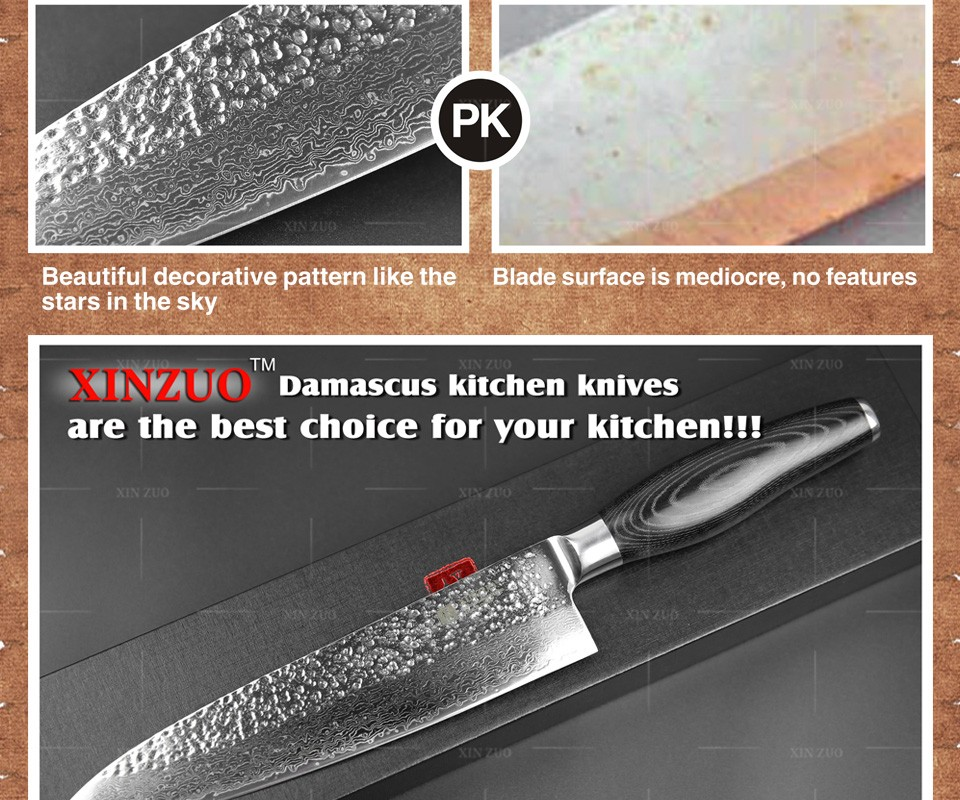 "Buy HIGH QUALITY XINZUO 8"" inch chef knife Japanese Damascus kitchen knife woman chef knife Color with wood handle free shipping cheap"