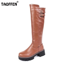 Buy Women Round Toe Knee High Boots Woman Knight Boot Female Square Heel Platform Shoes Heeled Footwear Size 33-43 for $31.98 in AliExpress store
