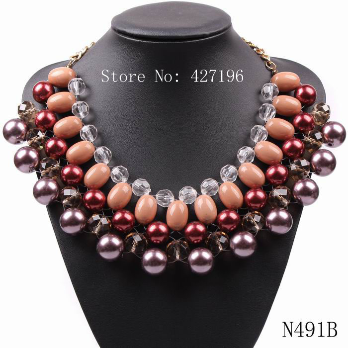 Chinese product factory direct sale high quality statement elegant jewellery colourful cheap fake pearl necklaces for female(China (Mainland))