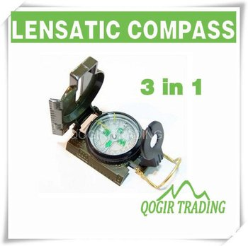 3in1 Military Hiking Camping Lens Lensatic Compass   LY- 6152