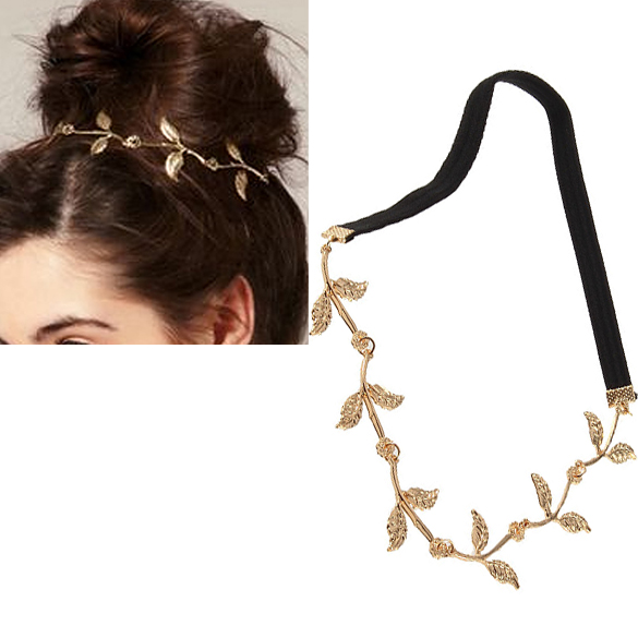 Alloy Leaf Leaves Grecian Garland Forehead Head Hair Band Headband Gold Olive Branch Accessory ES88(China (Mainland))