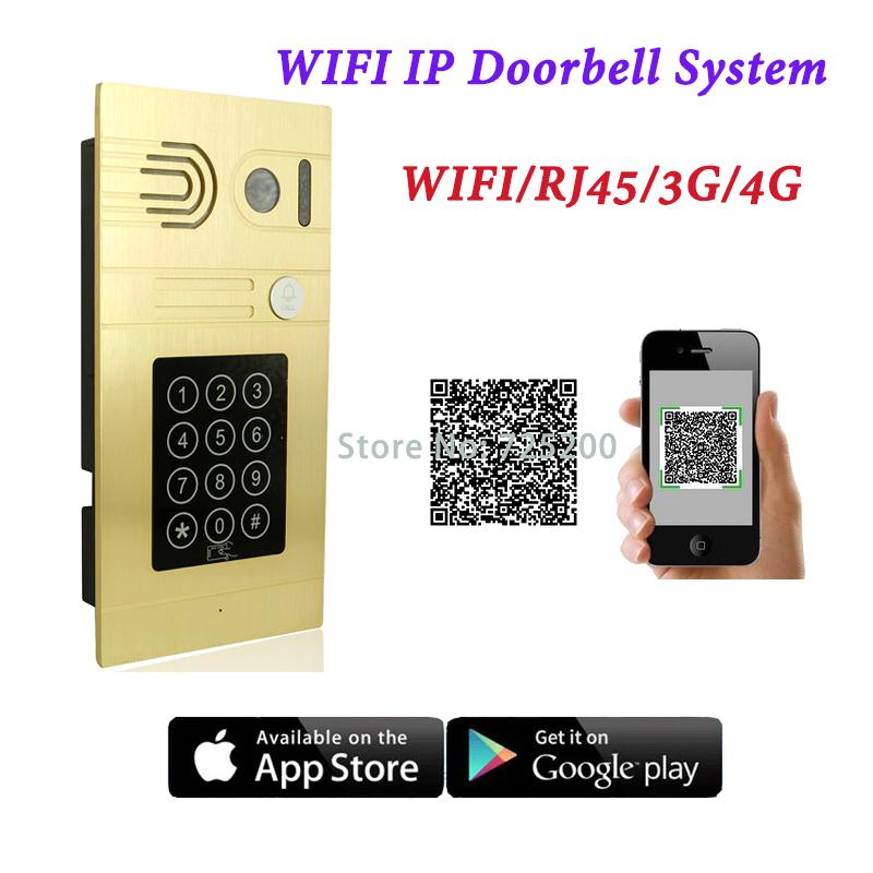 WIFI RJ45(POE) 3G 4G IP Doorbell System with Password Code, IC Card Reader and Smartphone APP to Open Door<br><br>Aliexpress