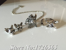 2015 New 3Colors Hippie Chic French Bulldog Necklace/Ring/Earrings Boho Complete Set Dogs Friend Gift For Men Women Fine Jewelry
