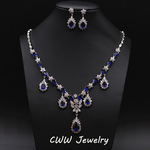 Luxury Bridal Accessories African Royal Blue CZ Diamond Beads Wedding Necklace Jewelry Sets Brides T131  -  cwwzircons Jewellry Store store