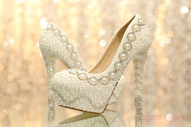 Фотография Nicest Pearl High Heel wedding shoes Rhinestone Crystal bridal shoes wedding shoes 35-39 Lady Fashion Shoes Christmas Gift