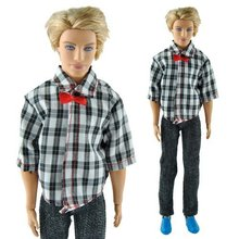 High Quality Handmade Casual Plaid Grid Clothes Jacket Pants Outfits For Ken Doll Hot Selling Children Play Toy Gift