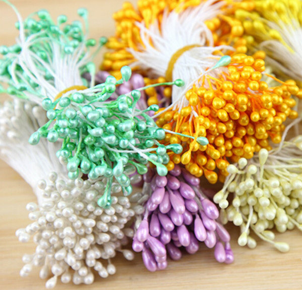 150pcs/Bundle Artificial Flower Double Heads Stamen Pearlized Craft Cards Cakes Decor Floral(China (Mainland))